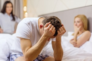 relationships and sexual problems concept - wife caught man chea