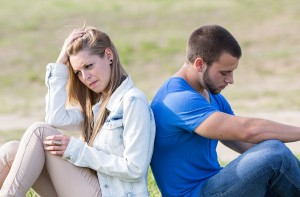 Couple sitting back with problems a boyfriends