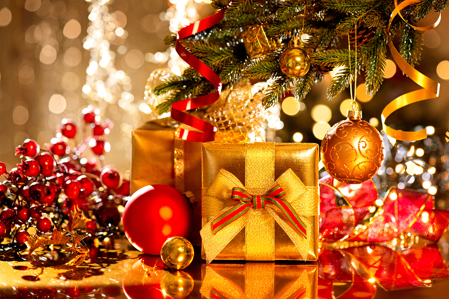 christmas gift box and baubles christmas and new year celebrati negle Gallery