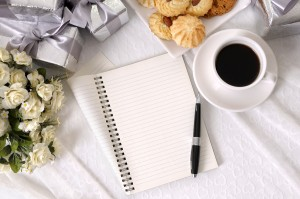 Wedding Gifts With Notebook And Coffee