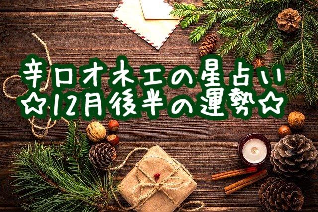 【辛口オネエ】12月後半の運勢◆蟹座・蠍座・魚座
